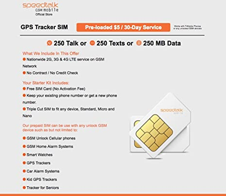 SpeedTalk Mobile $5 Prepaid GSM Sim Card for GPS Tracking Pet Senior Kid  Child Car Smart Watch Devices Locators 30-Day Wireless Service