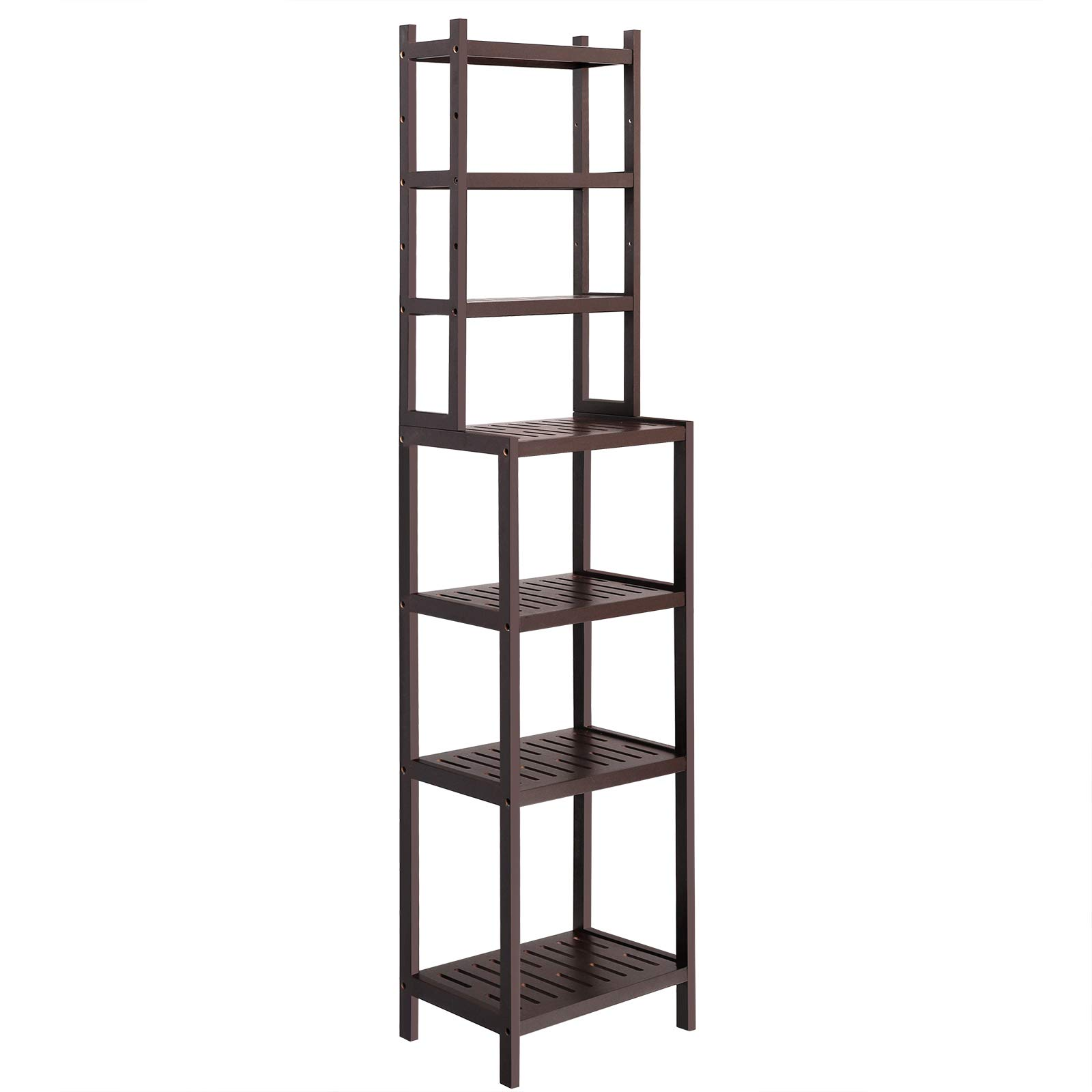SONGMICS 7-Tier Bamboo Bathroom Shelf, 2-in-1 Design Adjustable Storage Rack, Free Standing Multifunctional Organizer, Shelving Unit for Washroom, Living Room, Kitchen, Brown UBCR01BR by SONGMICS
