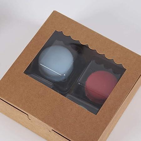 Cajas de regalo para cupcakes, 15 unidades, caja de papel kraft transparente, caja cuadrada para tartas, caja de aperitivos, perfecta para transportar tus creaciones A: Amazon.es: Hogar