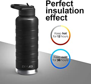 REYLEO Vacuum Insulated Water Bottle, Stainless Steel Water Bottle with Straw & 2 Lids (32oz 24oz 18oz), Double Walled Water Bottle with Standard Mouth Keeps Liquids Hot or Cold