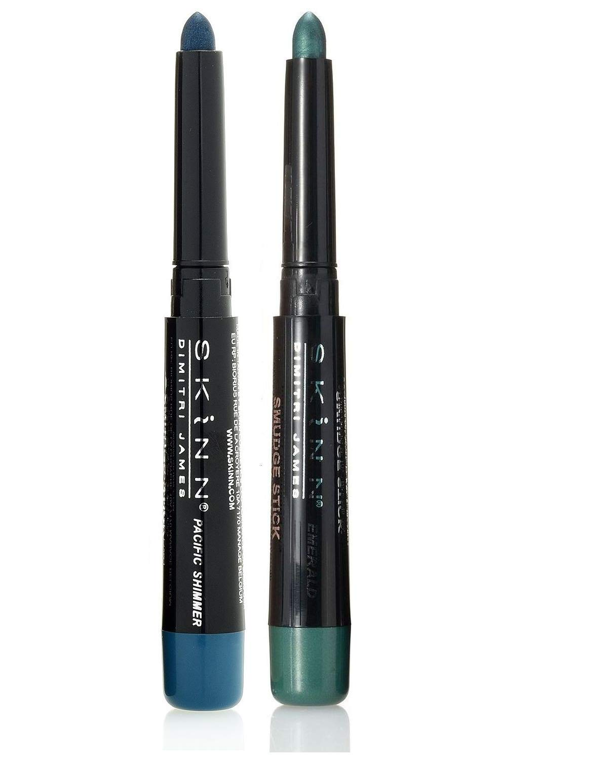 Skinn Cosmetics Smudge Stick for Eyes - Set of 2 Eye Pencils - Pacific Shimmer & Emerald