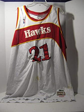 0a413a823eb2 Mitchell   Ness Hardwood Classics Dominique Wilkins White Sewn 1986-87  Atlanta Hawks Throwback Jersey
