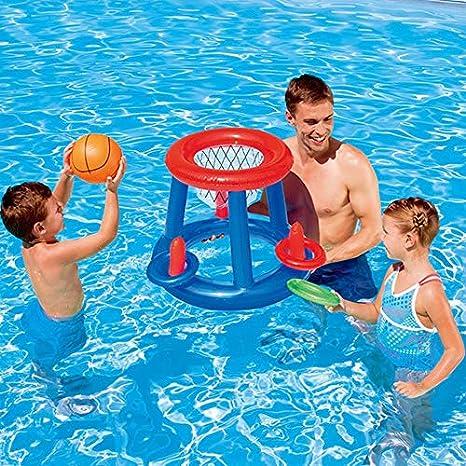 Baloncesto acuático Canasta de Flotador Piscina Flotante Juguete ...