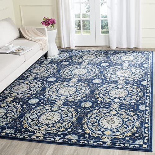 Safavieh Evoke Collection EVK252A Navy and Ivory Area Rug 8 x 10