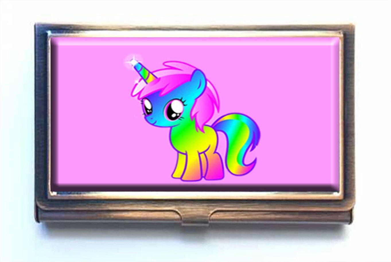 caikem UnicornsカスタムPersonalizedステンレススチールブロンズビジネスカードホルダーポケットビジネス名クレジットカードIDカード財布   B07DR99YKD