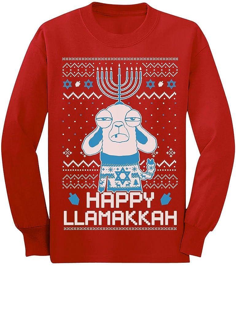 Funny Hanukkah Happy LlamaKkah Ugly Xmas Youth Kids Long Sleeve T-Shirt GM0PllrgCm