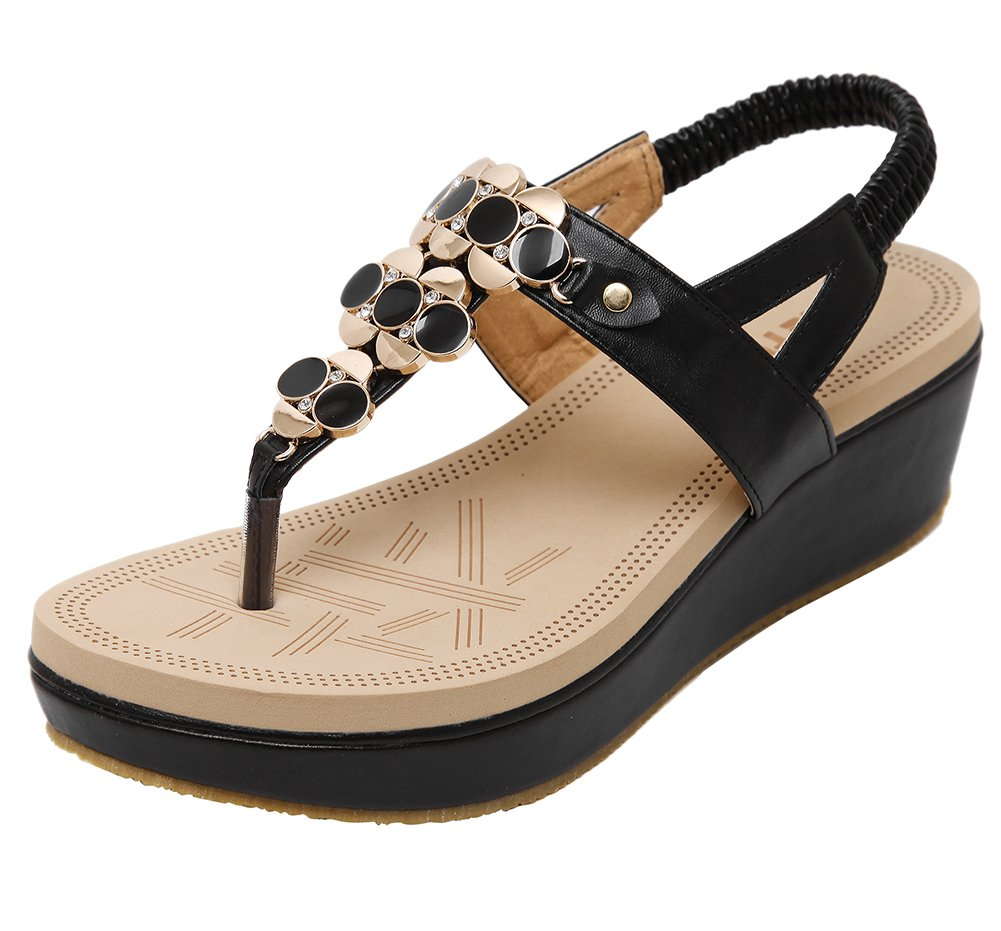 Wentsven Women's Studded Thong Sandles Wedge Platform Sandals B07BK6BPYF 5.5 B(M) US|Black