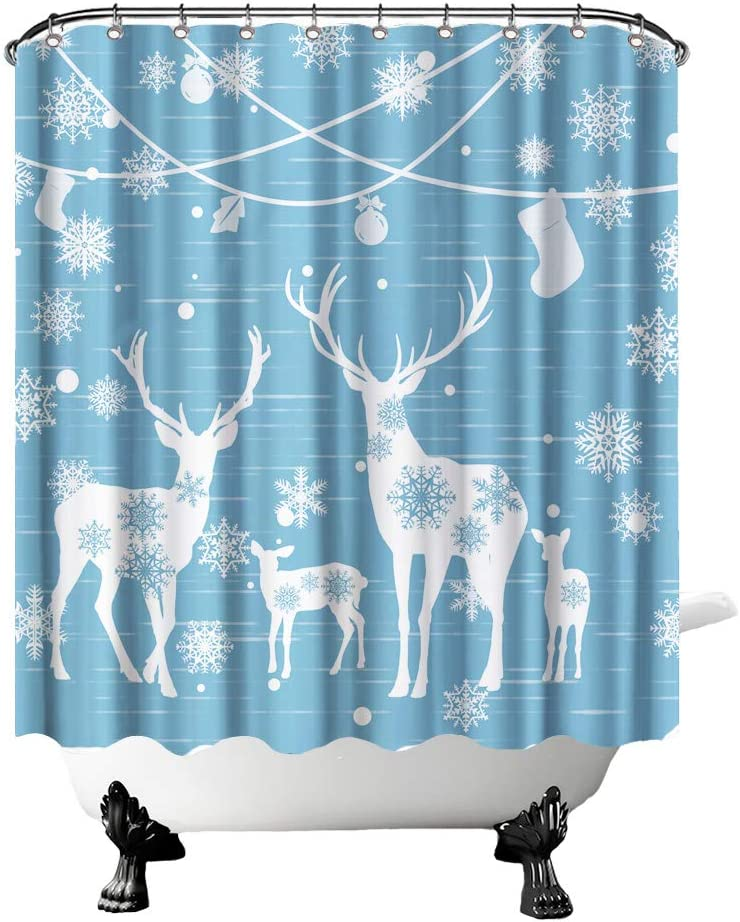 """Christmas Shower Curtain Deer Family Under Decoratives Bathroom Curtain Deer Fabric Home Decor for Xmas with Hooks 72""""X72"""" Inches Blue and White"""