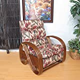 Urban Design Furnishings Made in USA Walnut Kailua Rattan Recliner Chair (Copa Cabana Natural)
