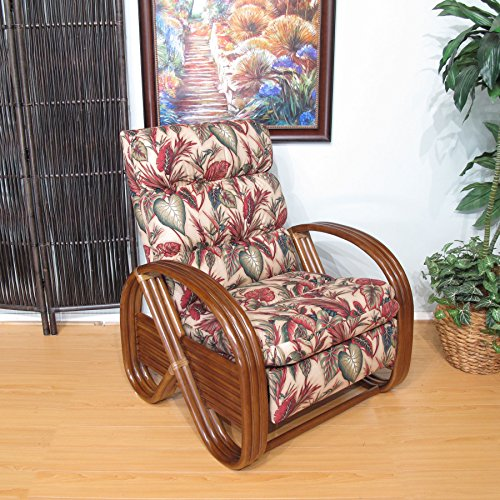 Urban Design Furnishings Made in USA Walnut Kailua Rattan Recliner Chair (Copa Cabana Natural) by Urban Design Furnishings
