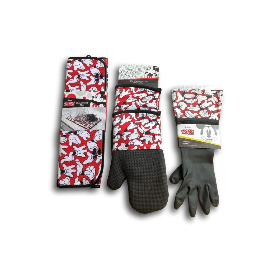 IOM Mickey Mouse Themed Kitchen Bundle with Drying Mat, Heat Resistant Oven Mitts and Cleaning Gloves