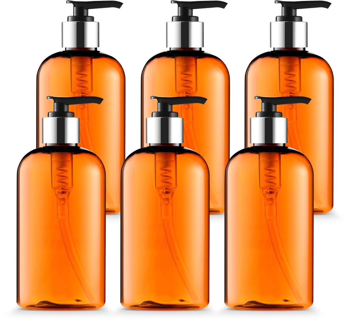 Empty Lotion Bottle 8 Oz. with Black-Silver Pump Dispenser, Light-Amber Color, Great for – Creams, Body Wash, Hand Soap, Self-Tanners, Bronzers and Massage Lotion Pack of 6