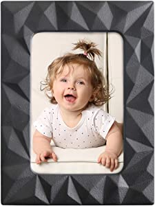 4x6 Black Picture Frames,Ceramic Photo Frame Wall Gallery for Home Decor,Display Stand on Tabletop Picture Frame 4x6,High Definition Glass Photo Frame ,for Home Living Room and Office Decoration,Wide Molding