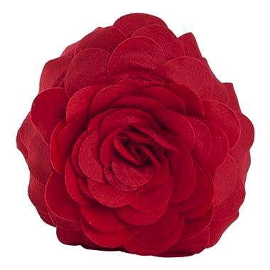 SARO LIFESTYLE FT095.R13R Fleur De Jardin Poly Filled Throw Pillow, Red, 13
