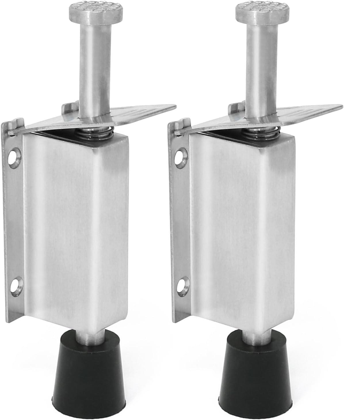 Bodentürstopper mit Magnet 4 x 4 cm 2x Türfeststeller aus mattiertem Edelstahl