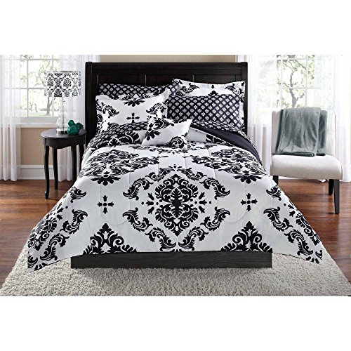 Black & White Damask Twin/Twin XL Comforter & Sheet Set (6 Piece Bed In A Bag)