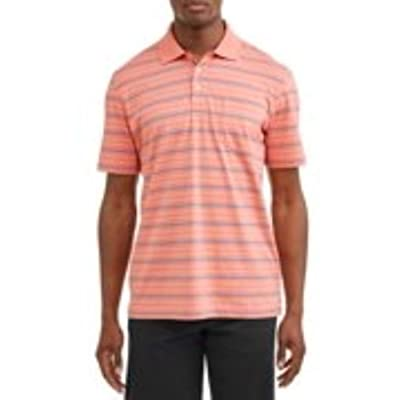 Men's Pattern Jersey Polo Shirt (2XL 50/52, Coral) at Men's Clothing store