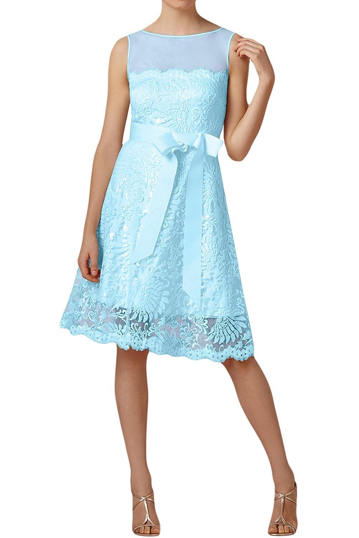 TOSKANA BRAUT Stilvoll Schleife Abendkleider Kurz Spitze Tuell Braut Cocktail Party Ball Hochzeitskleider