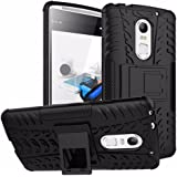 Heartly Tough Hybrid Flip Kick Stand Spider Hard Dual Shock Proof Rugged Armor Bumper Back Case Cover For Lenovo Vibe X3 - Rugged Black