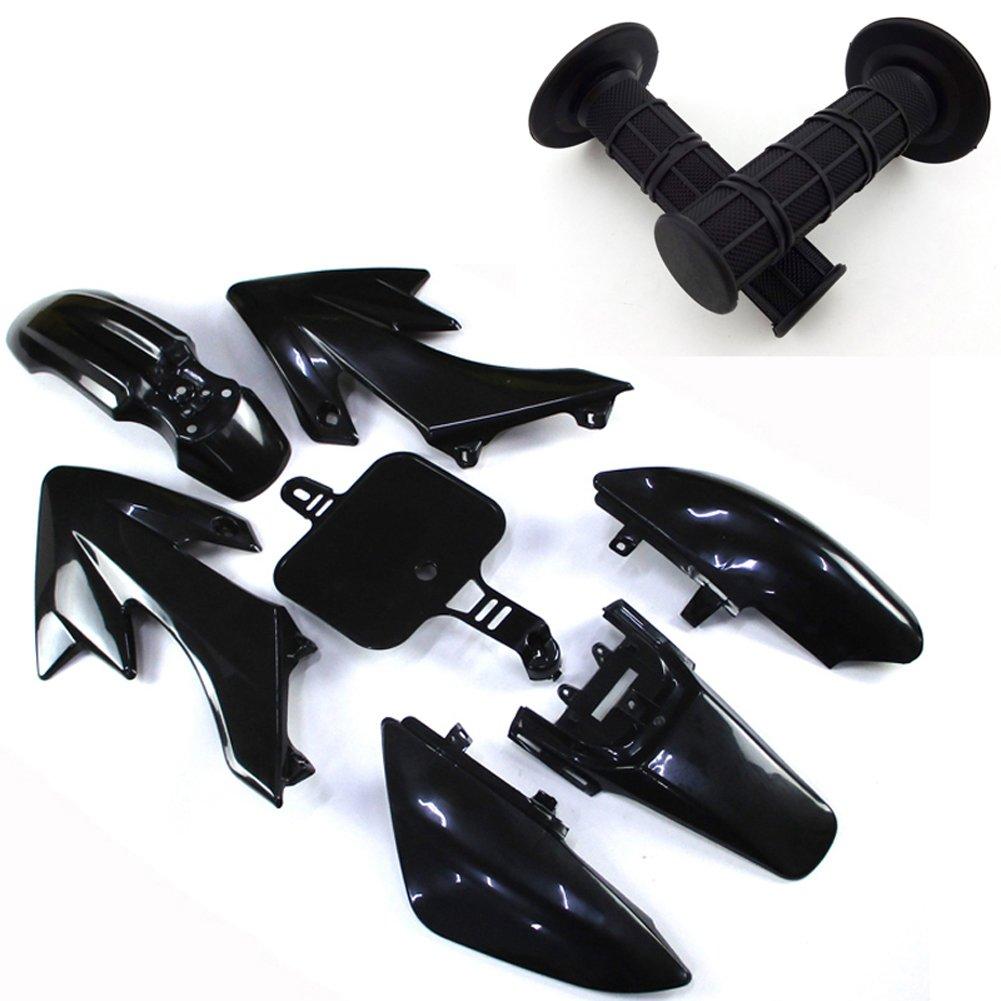 TC-Motor Black Throttle Handle Grips + Body Work Fender Plastic Fairing Kit For Honda Dirt XR50 CRF50 Chinese Pit Bike 50cc-160cc Thumpstar YCF GPX SDG SSR