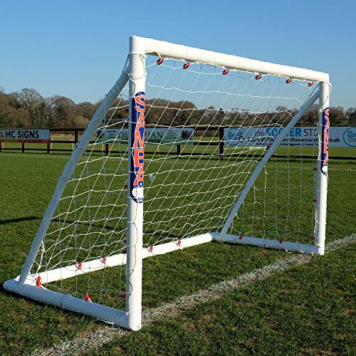 Samba 6 x 4ft Fun Football Goal with Locking System - Garden Goal Posts, Complete with Football Net, Clips and Pegs