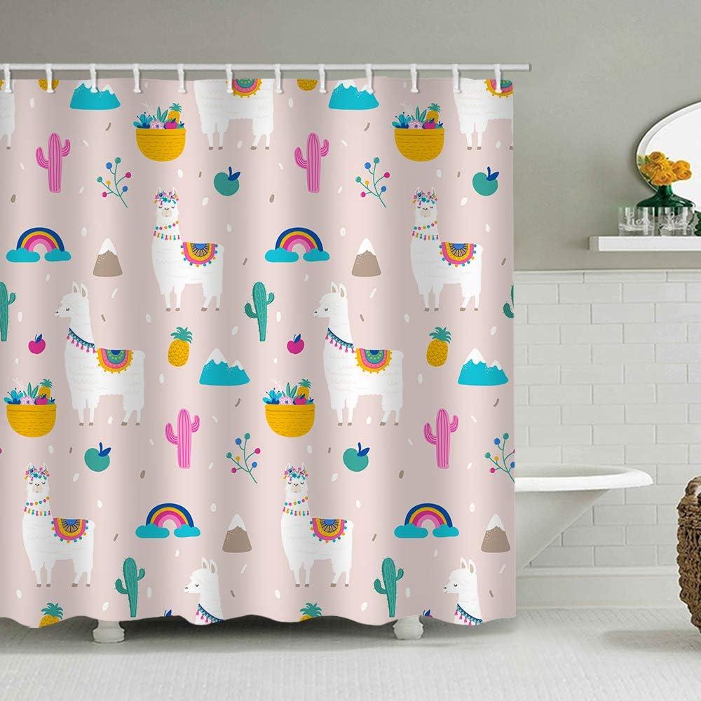 AlanRoye 72 x 72 inches Shower Curtain Cute Cartoon Llama Alpaca Cactus Pink Green Rainbow Apple Water Soap Resistant Machine Washable Fabric Bathroom Decor Set with Hook Bath Curtain