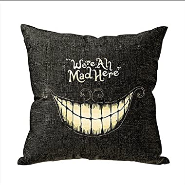 Onker Funny We Are All Mad Here Personalized 18x18 Inch Square Cotton Blend Linen Throw Pillow Case Decor Cushion Covers Beige