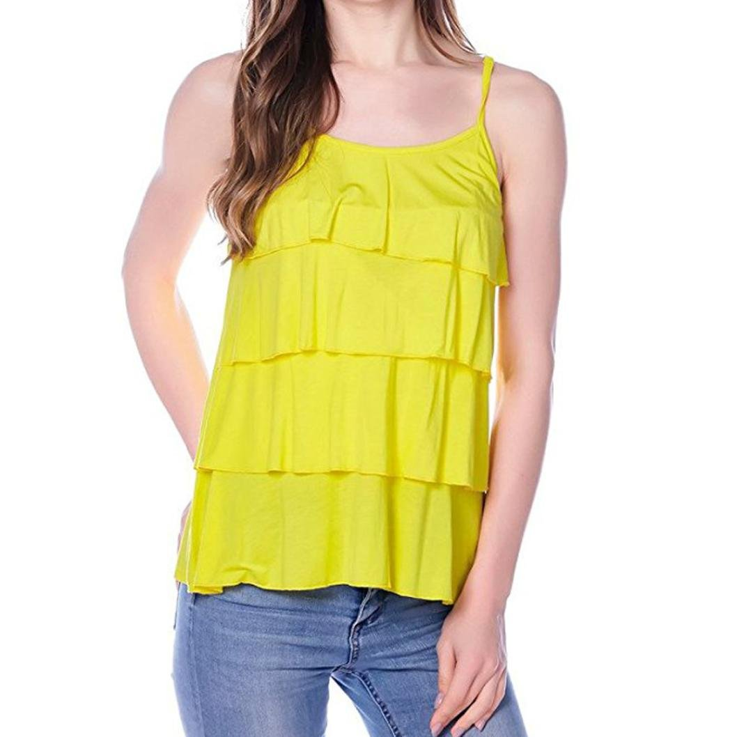 Women's Vest Maternity Sleeveless Tank Blouse Nursing Tops T-Shirt for Breastfeeding (Yellow, M)