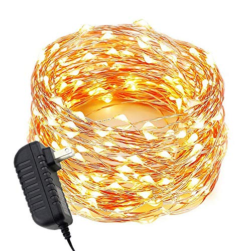- ER CHEN LED String Lights Plug in, Warm White Copper Wire Starry Fairy Lights Decorative Lights with Adapter for Christmas Party Wedding(66ft/20m 200LED)