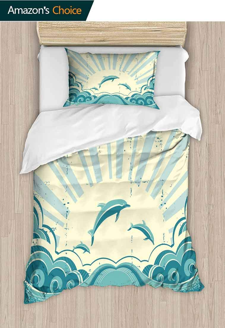 Dolphin DIY Duvet Cover and Pillowcase Set, Nautical Inspirations in Dolphins with Rising Sun and Swirled Ocean Waves, Print Duvet Cover Sets Soft Microfiber 2Pcs Quilt Cover, 63 W x 82 L Inches