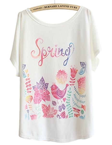00f8b49b8 TangB Women's Birds Print T-shirt Tee Top at Amazon Women's Clothing store: