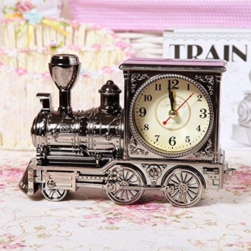 GardenHelper Vintage Retro Train Style Students Alarm Clock Table Desk Time Clock Cool Train Model Home Office Shelf Decoration Novelty Birthday Holiday Children Adults Boys Gift Brown (grey)