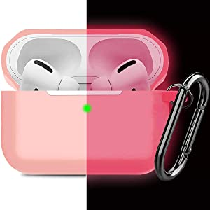 Compatible AirPods Pro Case Cover Silicone Protective Case Skin for Apple Airpod Pro 2019 (Front LED Visible) Nightglow Pink