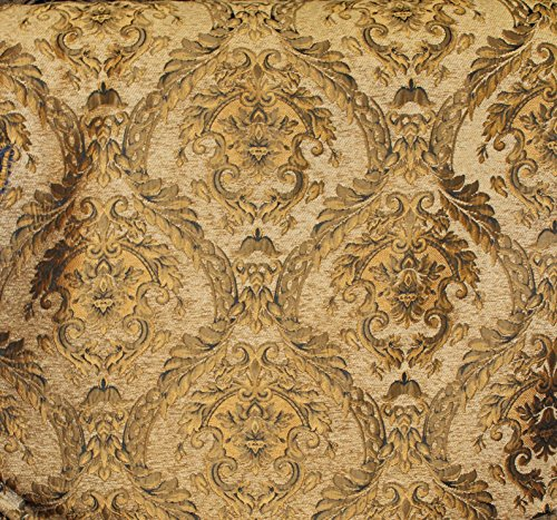 DAMASK TAPESTRY CHENILLE FABRIC - UPHOLSTERY FABRIC, L.GOLD - 60