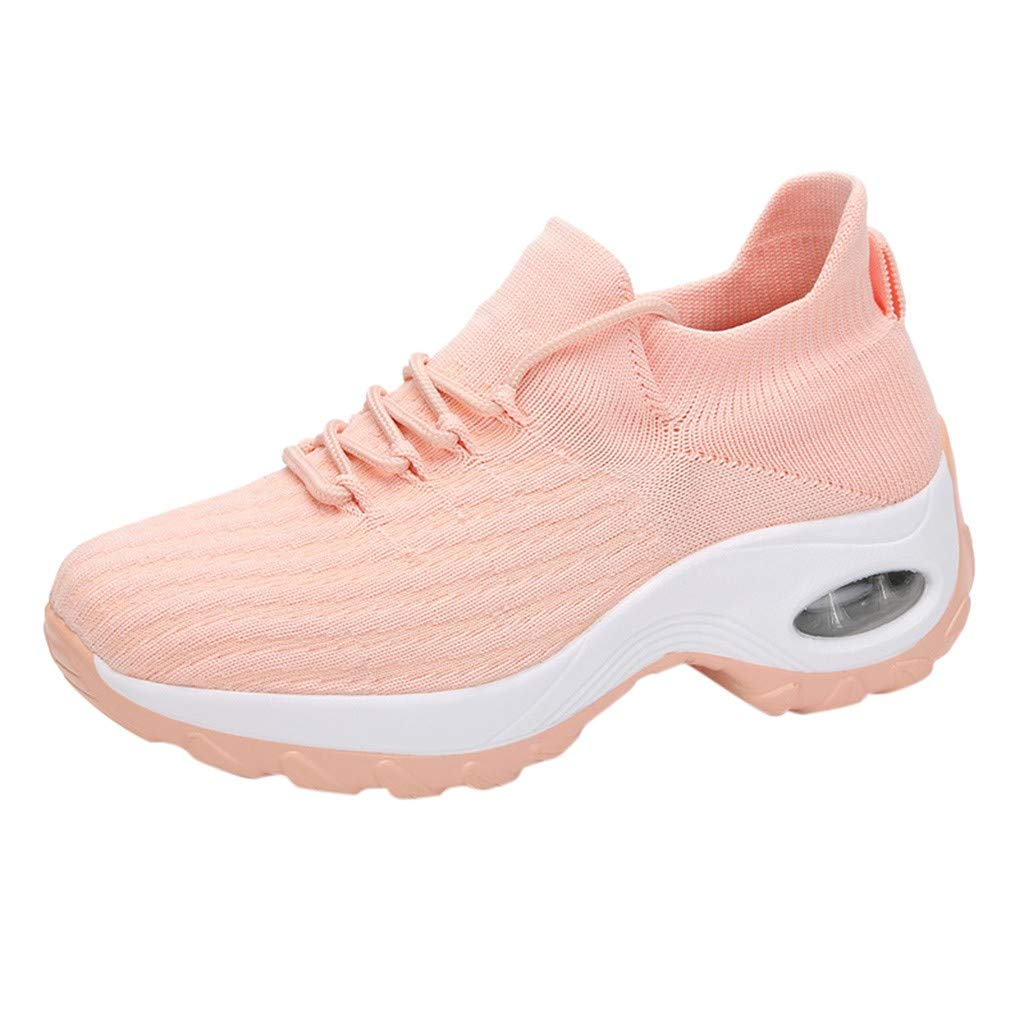 Womens Casual Lace-up Sport Shoes Breathable Mesh Shoes Thick Bottom Rocking Shoes Student Working Sneaker Shoes (US:8.5, Pink) by Aritone - Women Shoes