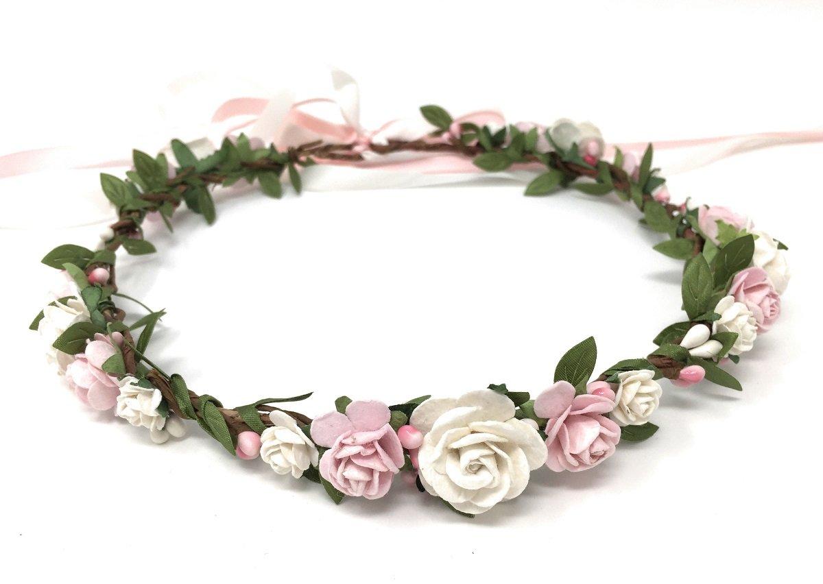 Daddasprincess Flower Girl Crown Wedding Boho Headpiece Headband Hair Wreath (White Blush)