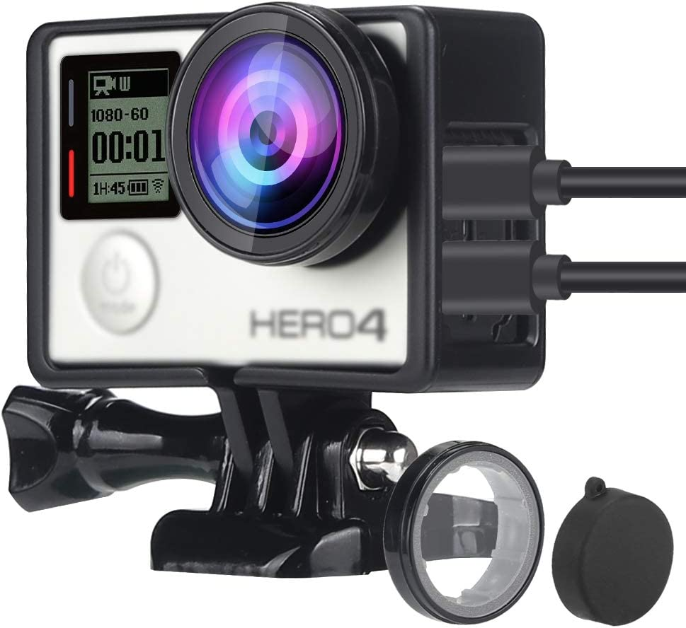 WiserElecton Frame Mount Housing Case with UV Filter and Lens Cover for GoPro Hero4 Hero3+ Hero3 Cameras - Black