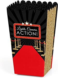 product image for Big Dot of Happiness Red Carpet Hollywood - Movie Night Party Favor Popcorn Treat Boxes - Set of 12