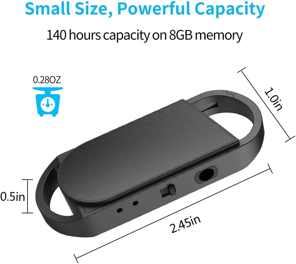 Meetings Easy One Button Operation 20 Hours Working Time 16GB Voice Recorder USB Charge BestRec Audio Activated Keychain Recordings for Lectures