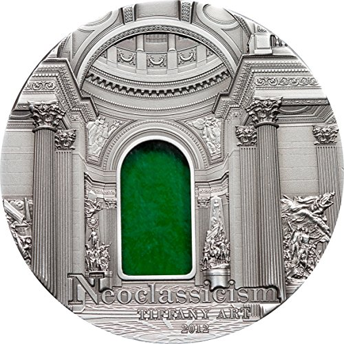 2012 PW Tiffany Art - Neoclassicism 2oz Glass & Silver Coin - Palau $10 Mint State