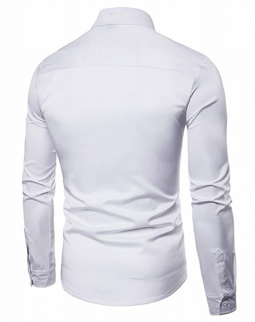 Nanquan Men Fashion Hollow Out Long Sleeve Solid Color Button Down Shirts Tops