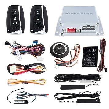 De calidad superior Easyguard con ruedas código smart llave PKE alarma coche sistema con Pasivo entrada