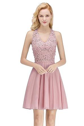 e067637635a MisShow Women s Halter Lace Applique Short Cocktail Party Dresses Dusty  Pink US2