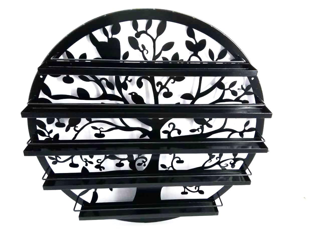 FixtureDisplays Wall Mounted 5 Tier Nail Polish Rack Holder, Tree Silhouette Round Metal Salon Wall Art Display, Black 16785-NPF