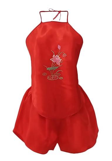 Lannister Fashion Pijama Mujer Verano Corto Ropa De Dormir Conjunto De Pijama 2 Piezas Vintage Estilo Chino Bordadas De Flores Sleepwear Colgando Del Cuello ...
