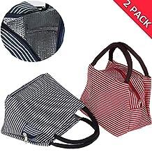 Insulated Lunch Bag, Uniwit 2 PCS Picnic Tote Bag Insulated Lunch Cooler Bag Lunch Container Travel Zipper Organizer Box for Women Men Kids