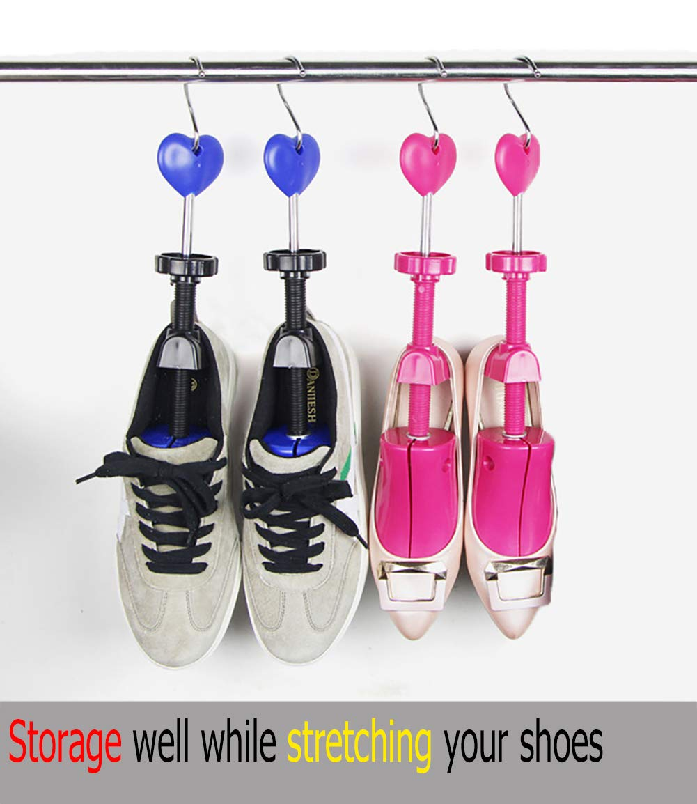 Shoe Stretcher Women, Pair of 4-way Adjustable Shoe Widener Expander to Stretch Length Width Height for Wide Feet, Tough Plastic Shoe Tree Shaper with Bonus 12 Bunion Plugs and 1 Hook, Medium