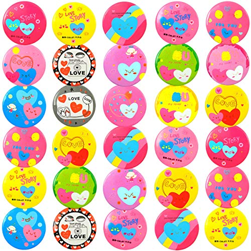 (QY 30PCS 1.8Inch Tinplate Love Series Button Pins Show Love Brooch Tag Lovely Heart Badge Large Size Colorful )
