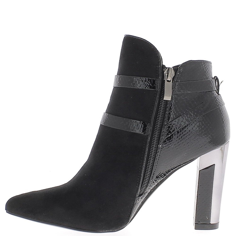 Negro botas de cocodrilo y 9 cm tacón puntiagudos bi aspecto material del ante - 36 jbCdWLh