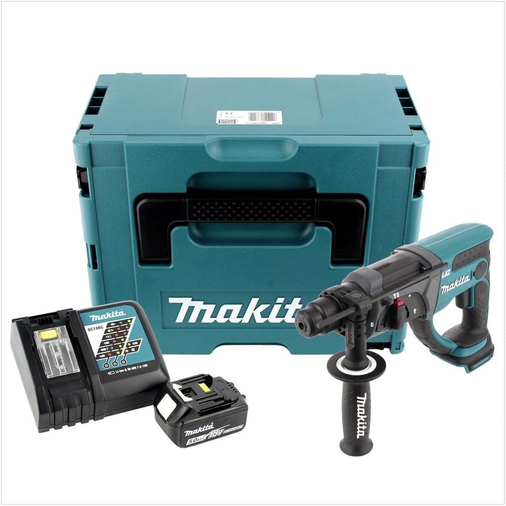 Makita DHR 202/rt1j 18/V Bater/ía Martillo combinado SDS-Plus en Makpac con 5,0/Ah Bater/ía Y Cargador